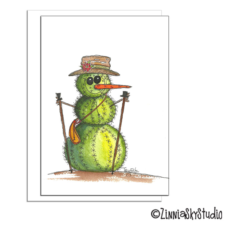 southwest cactus snowman christmas card