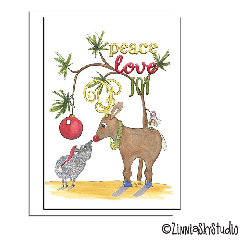 southwest javelina peace holiday card