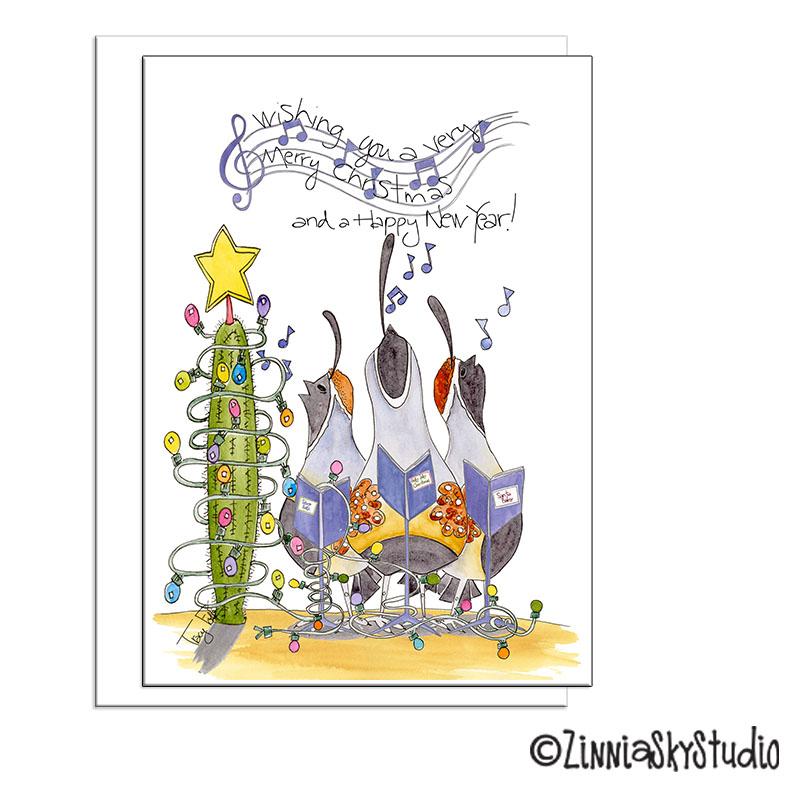 whimsical carolers christmas card