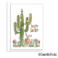 southwest saguaro cactus eggs easter card