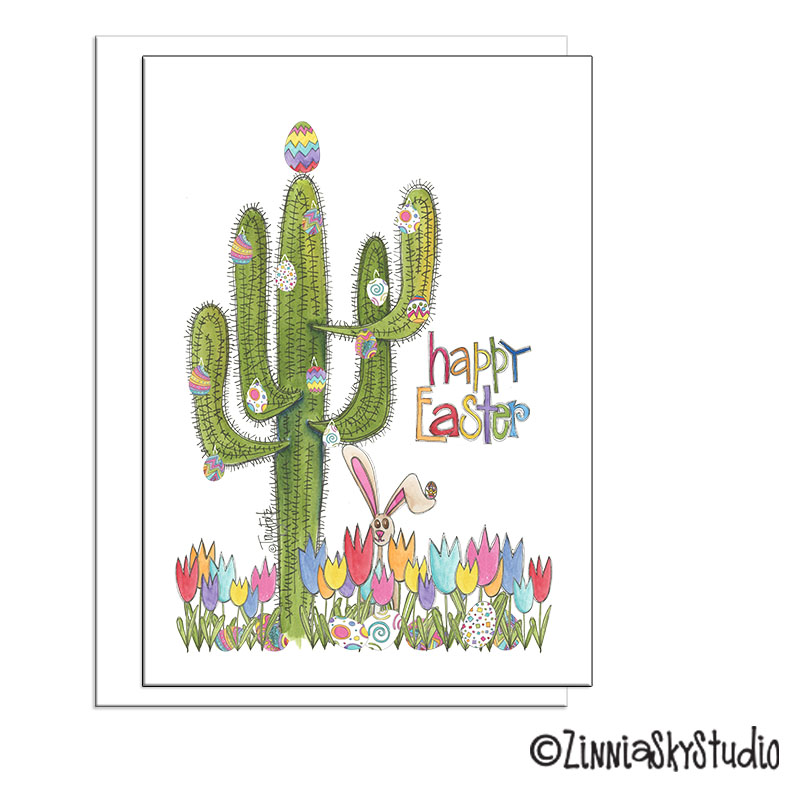 southwest saguaro cactus eggs easter card