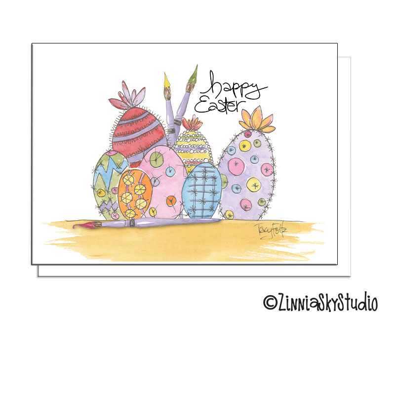 southwest succulent eggs easter card