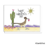 southwest road runner hearts valentine card