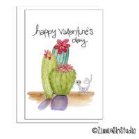 southwest valentine succulent lizard valentine card
