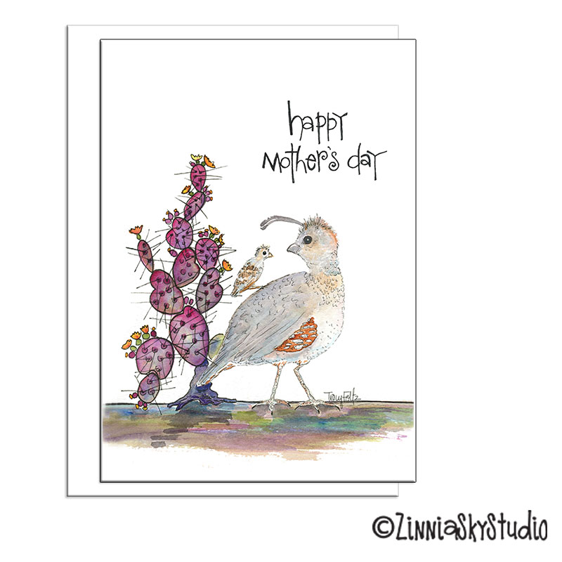 southwest quail Mother's Day card