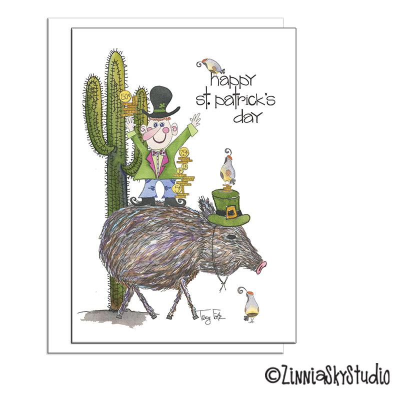 southwest javelina leprechaun st Patrick's day card