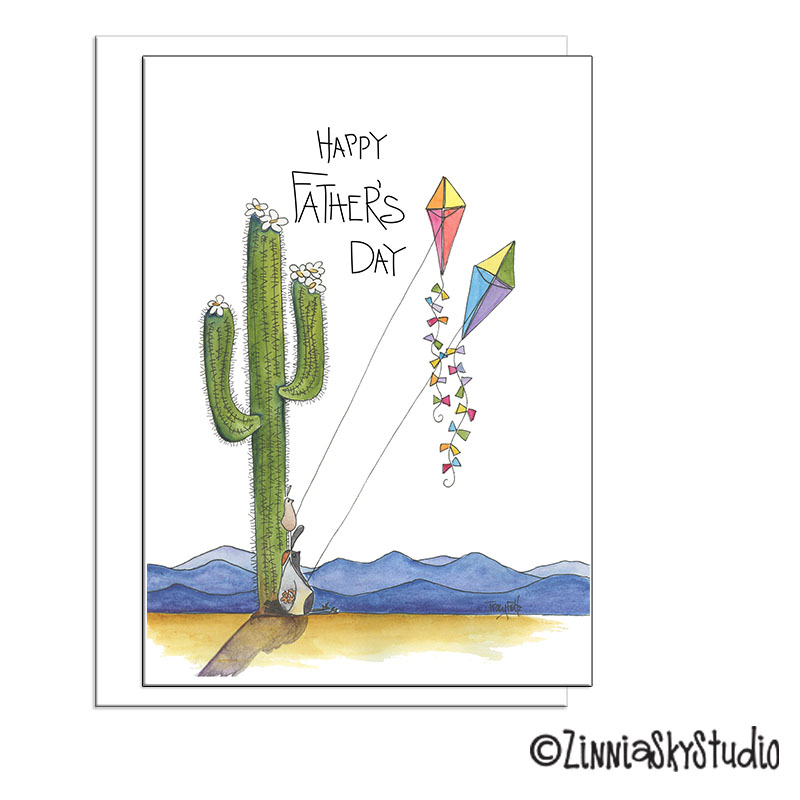 southwest quail kites Father's Day card