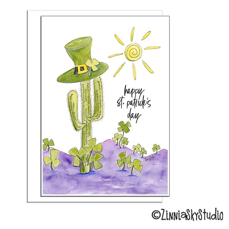 southwest cactus clover st Patrick's day card