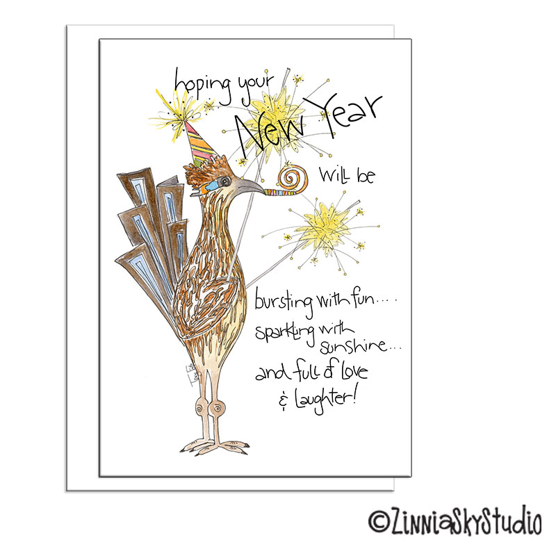 road runner sparkle new year card