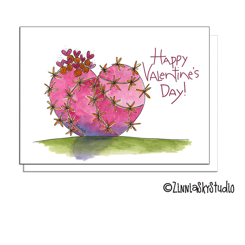 cactus heart pink valentine card