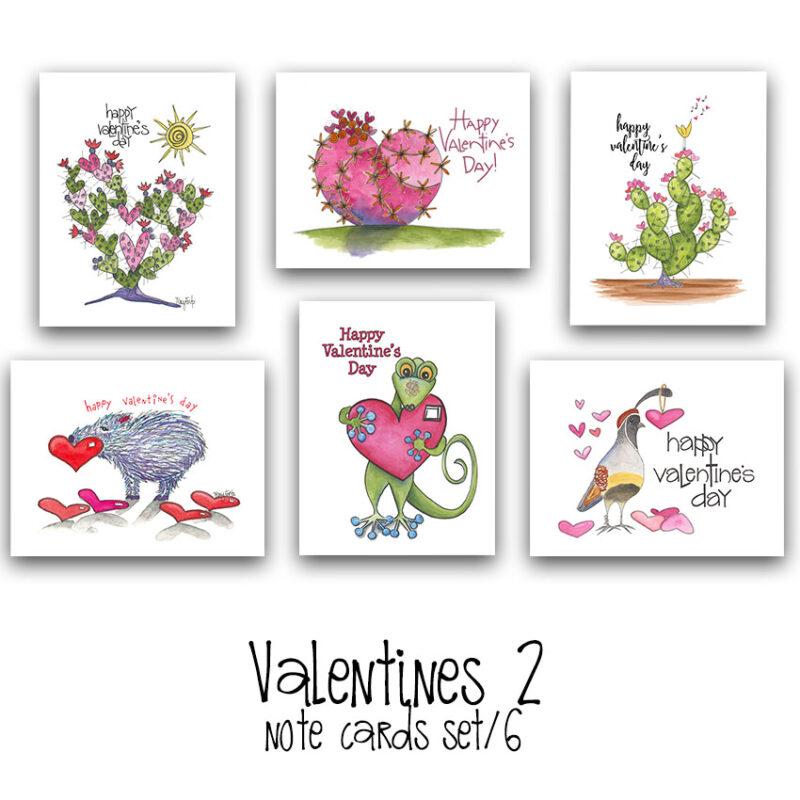 valentines 2 note card set