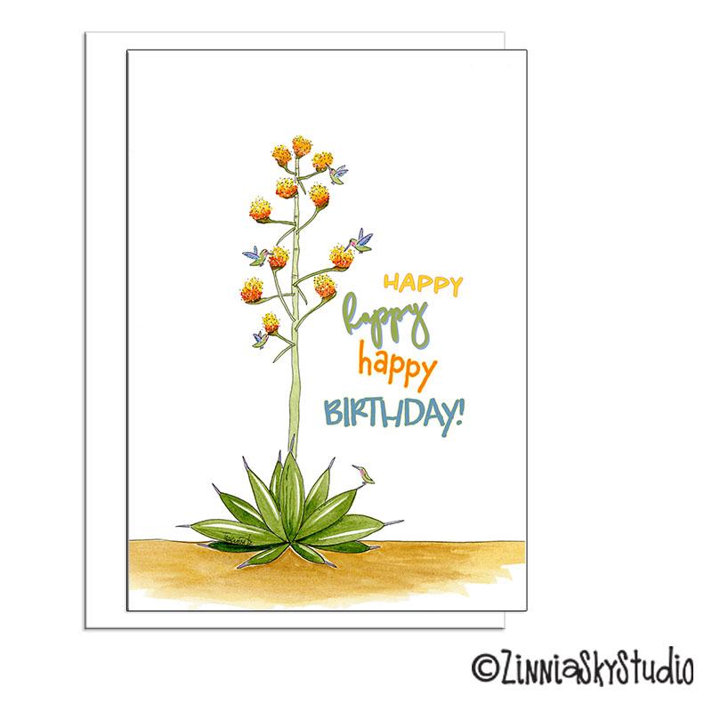 southwest agave hummingbirds birthday card