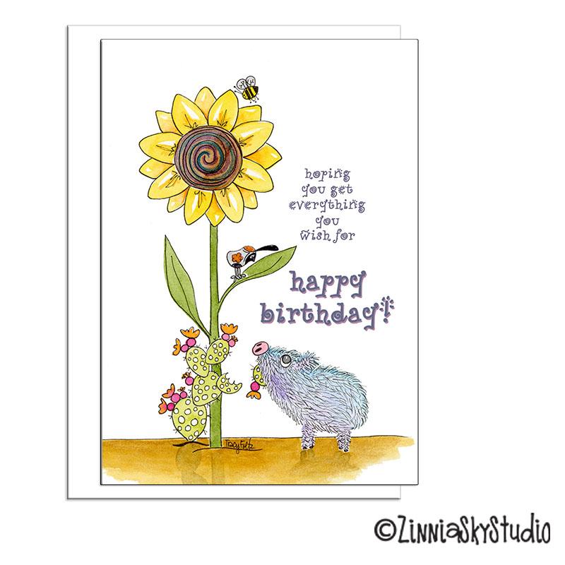 javelina pig sunflower birthday card