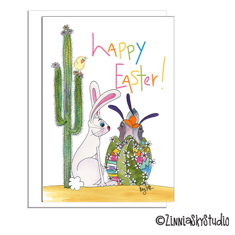 Cactus rabbit quail bird easter card