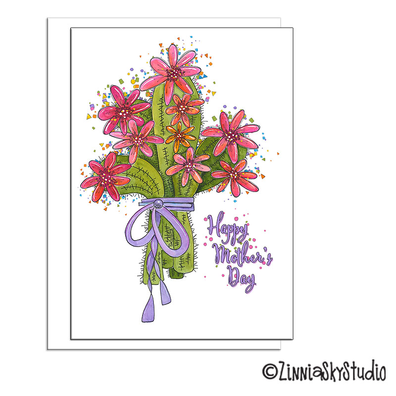 southwest cactus flower bouquet mothers day card
