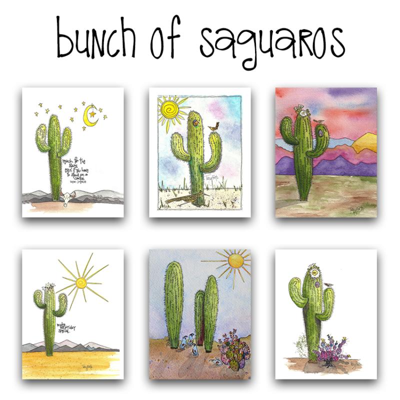 bunch of saguaros note card set