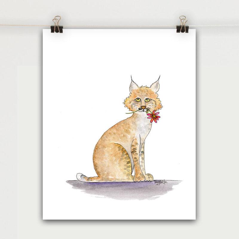 bobcat flower art print