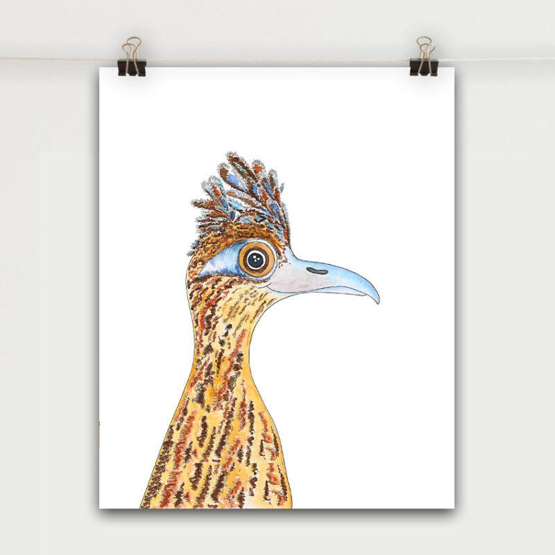road runner bird face art print