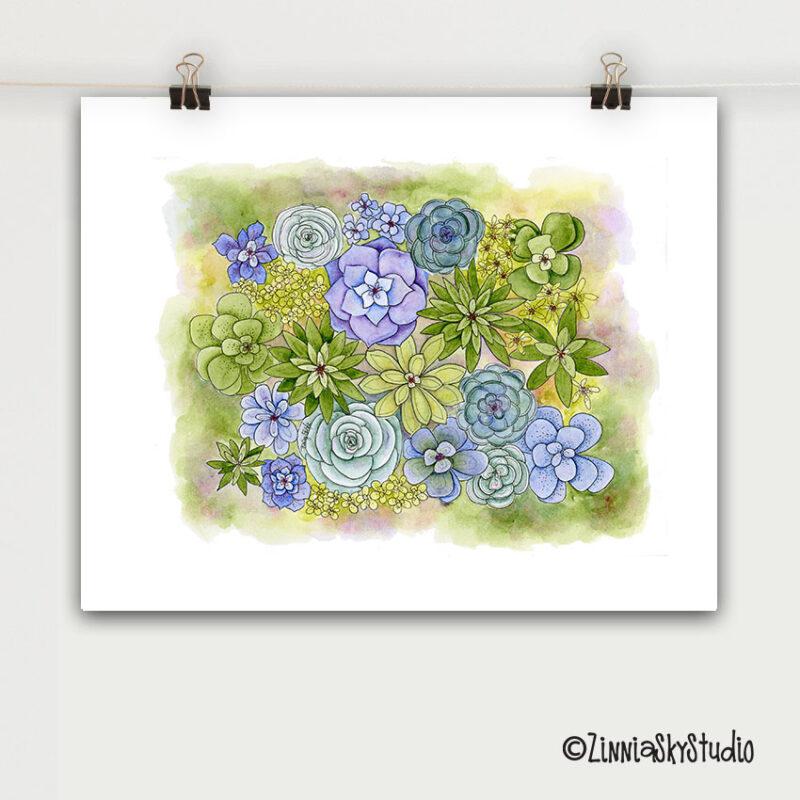 succulents lots art print