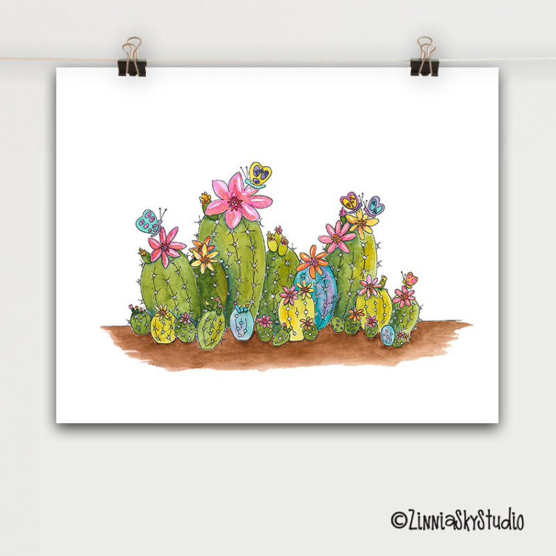 succulents flowers art print