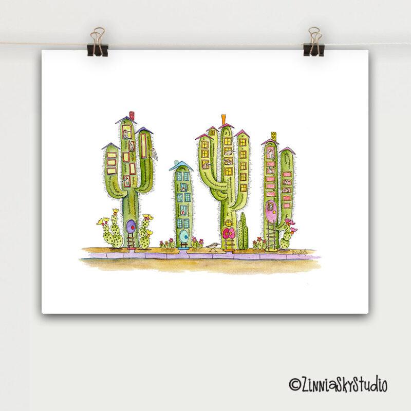 cactus condos art print