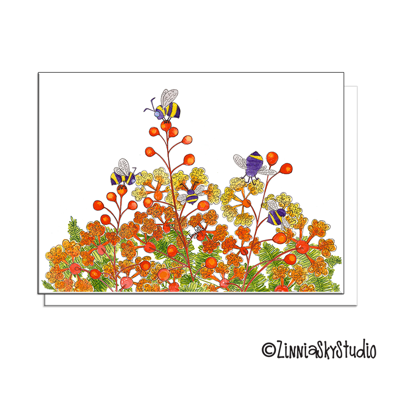 bees desert flowers blank card