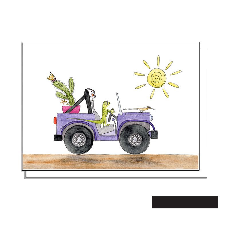 lizard and friends desert jeep blank card