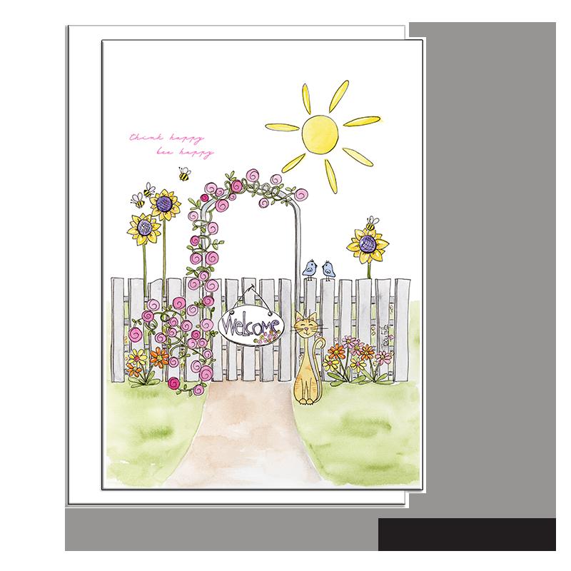 garden gate yellow cat blank card