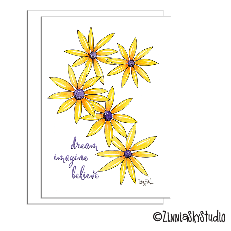 black eyed Susan flowers blank card