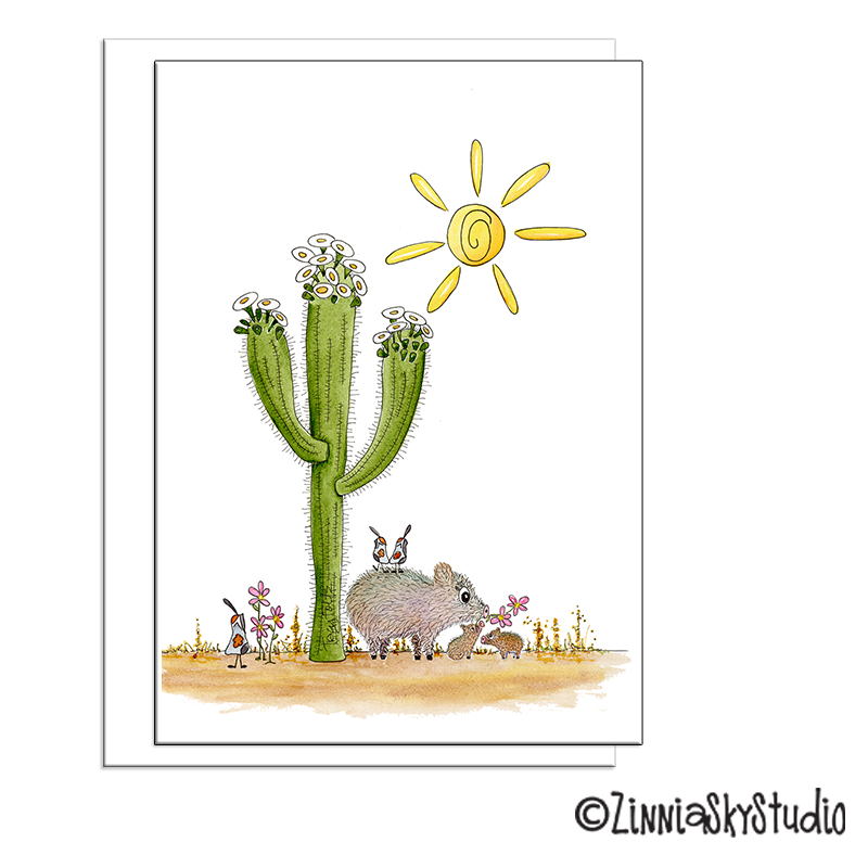 desert baby javelina pigs with mom blank card