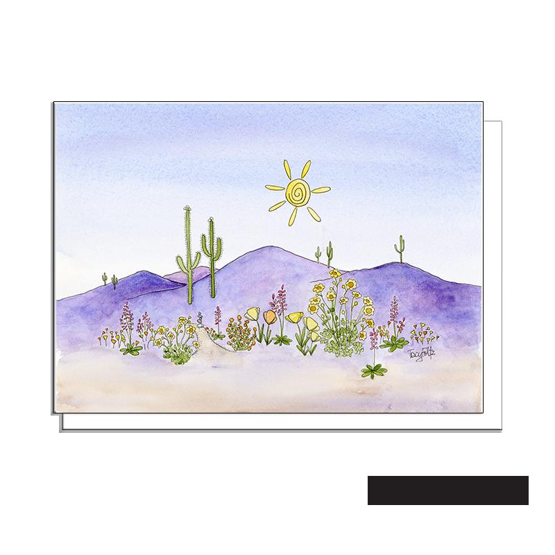 purple mountains spring flowers blank card