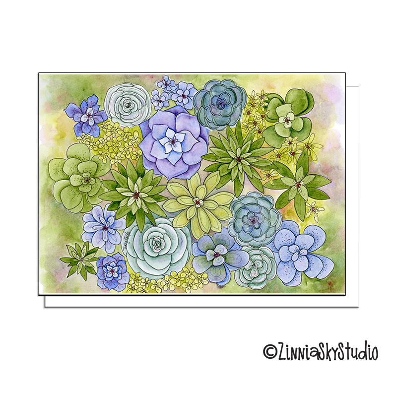 succulents lots and lots blank card