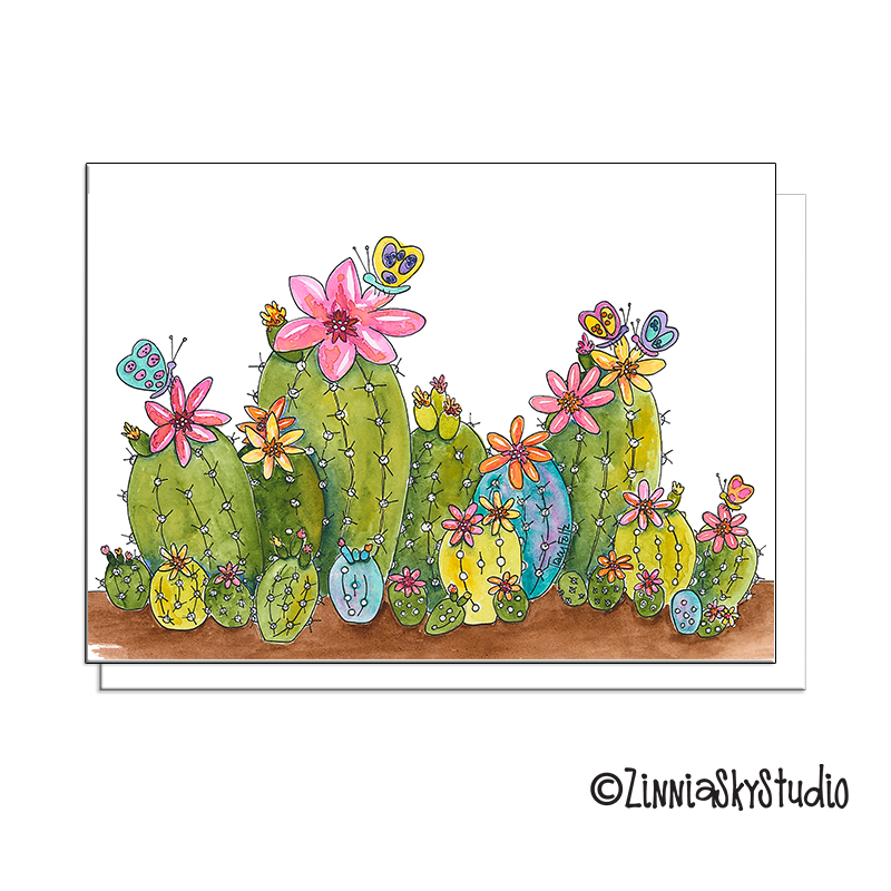 succulents flowers blank card
