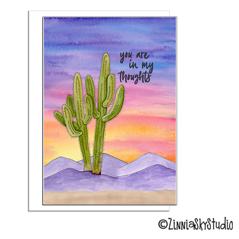mountains sunset colorful sympathy card
