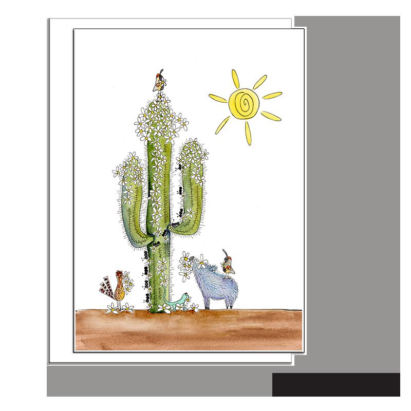 saguaro cactus javelina pig blank card