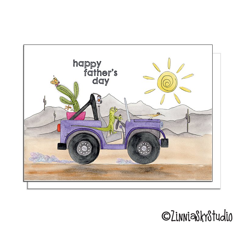 desert critters purple jeep fathers day card