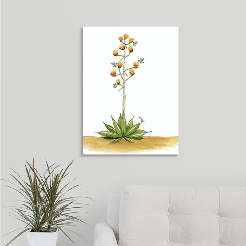 agave cactus hummingbirds canvas