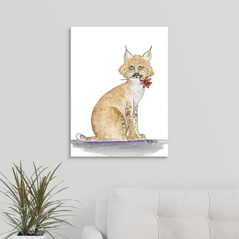 bobcat flower canvas