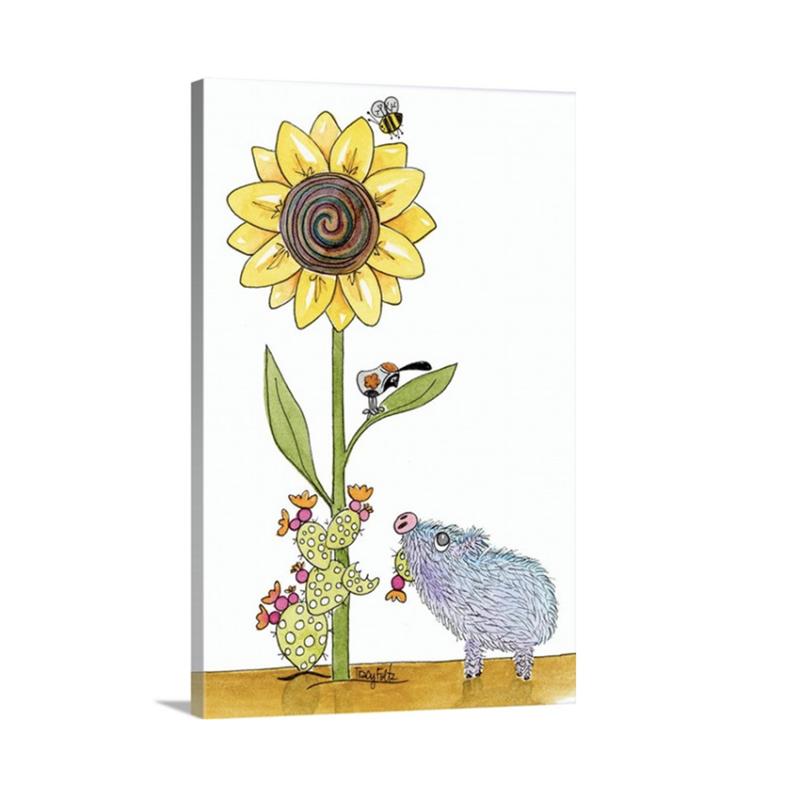 javelina pig sunflower canvas