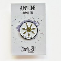 sunshine glitter gold enamel pin