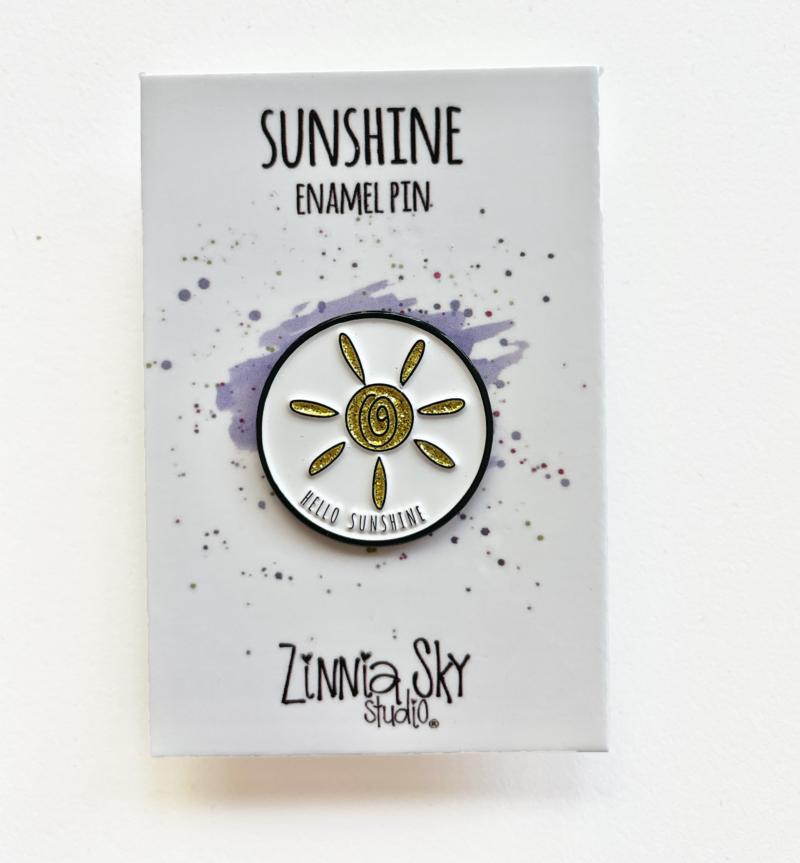 sunshine glitter gold enamel pin