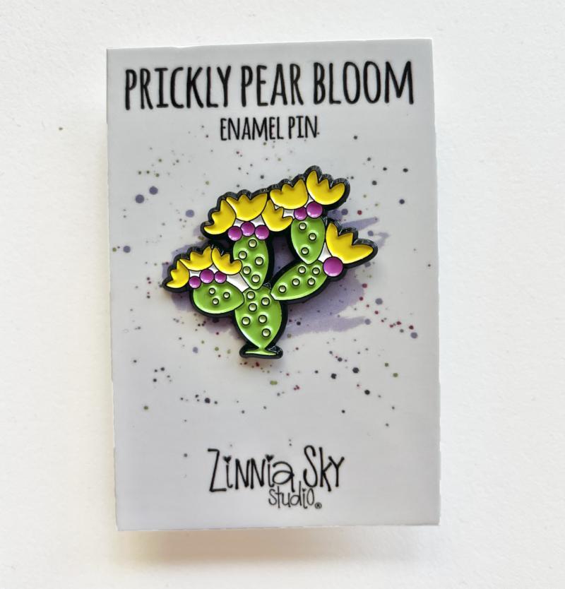 cactus prickly pear bloom enamel pin