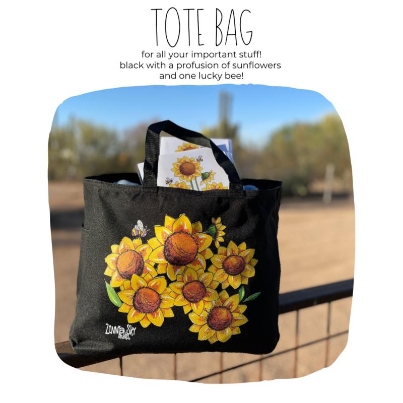 sunflowers bee on black tote bag