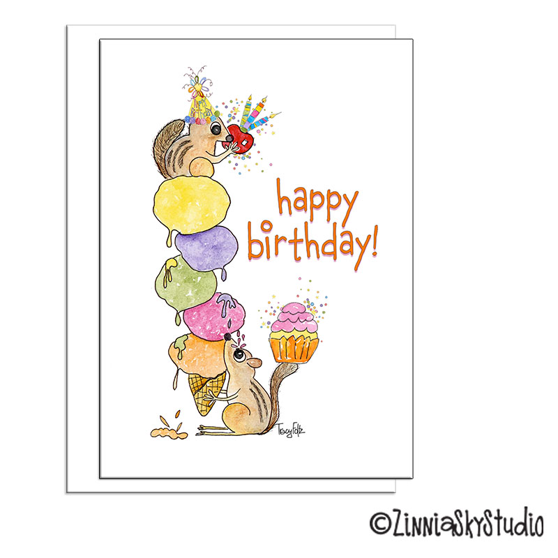 chipmunk squirrel ice cream birthday card