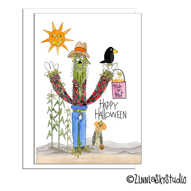 cactus scarecrow funny halloween card