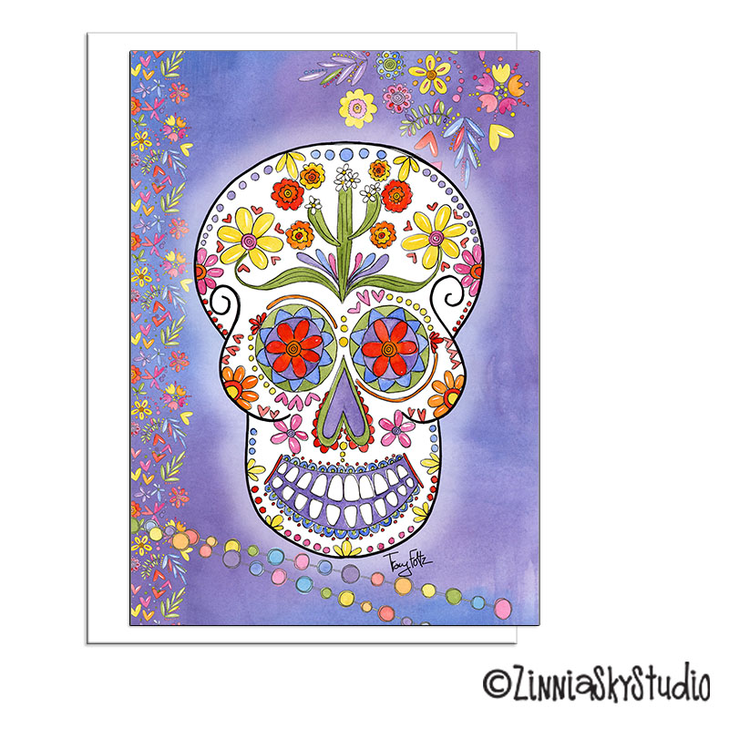 Flowers and Hearts Day of the Dead card