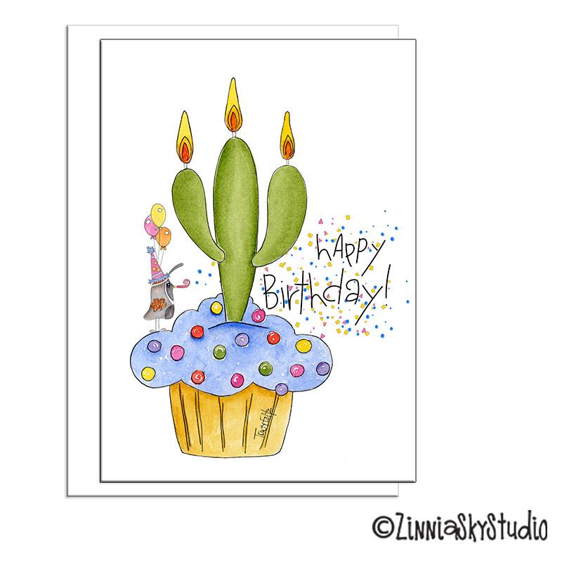 saguaro cactus cupcake birthday card
