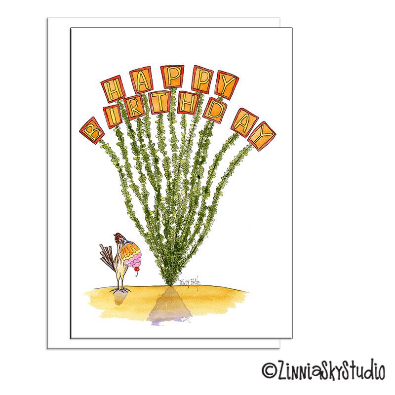 Ocotillo Cactus Sign Birthday Card