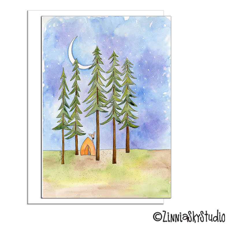 pine trees tent camping blank card