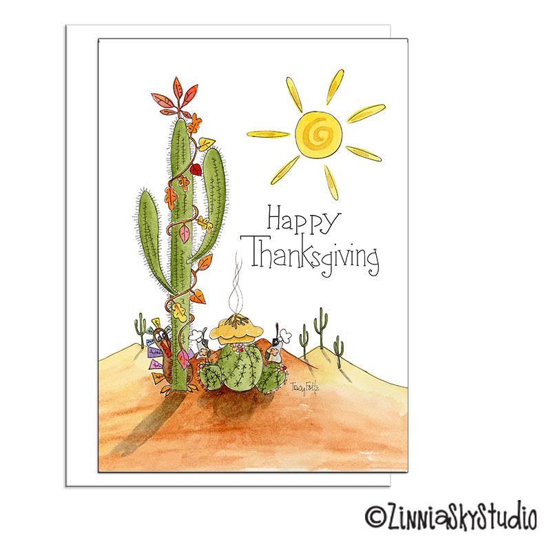 saguaro cactus fall leaves thanksgiving card